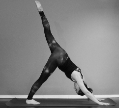 Eka pada adho mukha svanasana (one-legged downward facing dog)